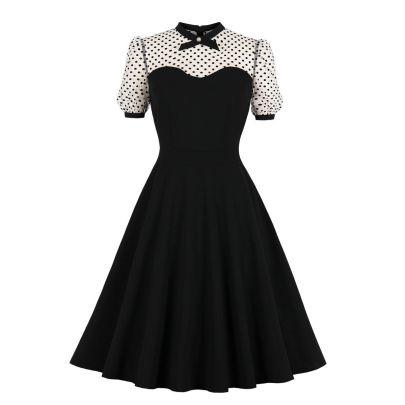 Women's Net Yarn Polka Dot Stitching Puffy Dress Nihaostyles Clothing Wholesale NSMXN78857