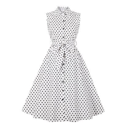 Women's Lapel Polka-dot Sleeveless Bandage Dress Nihaostyles Clothing Wholesale NSMXN78859