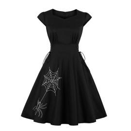 Women's Halloween Embroidery Round Neck Dress Nihaostyles Wholesale Halloween Costumes NSMXN78860