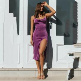 Women's Sling Sleeveless High-waist Pleated Dress Nihaostyles Wholesale Clothing NSYBN78875