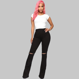 Women's High Waist Slimming Ripped Jeans Nihaostyles Clothing Wholesale NSWL78895