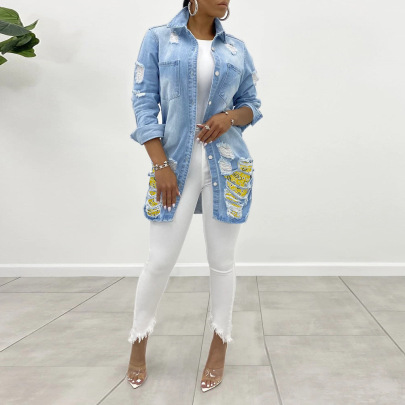 Women's Plaid Stitching Denim Jacket Nihaostyles Clothing Wholesale NSWL78897