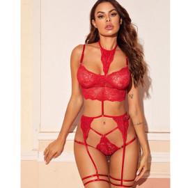 Women's One-piece Hanging Neck Three-point Garter Belt Lace Underwear Suit Nihaostyles Wholesale Clothing NSFQQ78943