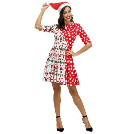 Women's Santa Claus Digital Printing Dress Nihaostyles Wholesale Christmas Costumes NSMID78950