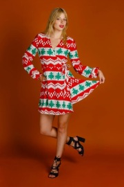 Women's Long Sleeve Plaid Digital Print Dress Nihaostyles Wholesale Christmas Costumes NSMID78953