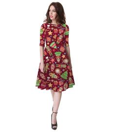 Women's Letter Digital Print Mid-Sleeve Round Neck Dress Nihaostyles Wholesale Christmas Costumes NSMID78954