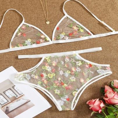 Women's Three-point Net Yarn Printing White Bra And Panty Set Nihaostyles Wholesale Clothing NSFQQ78976