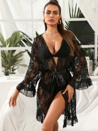 Women's Open Chest Tieback Nightgown Nihaostyles Wholesale Clothing NSFQQ78997