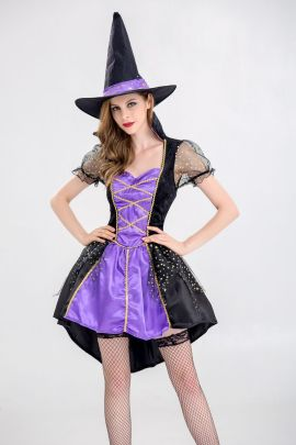 Purple Witch Cosplay Costume Nihaostyles Wholesale Halloween Costumes NSQHM79004