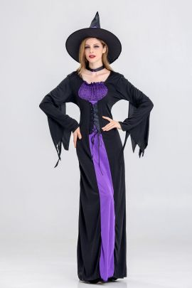 Purple Witch Cosplay Costume Nihaostyles Wholesale Halloween Costumes NSQHM79007