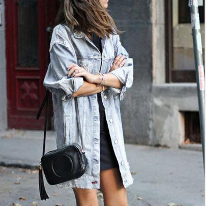 Women's Mid-length Hole Dark Blue Denim Jacket Nihaostyles Clothing Wholesale NSWL79024