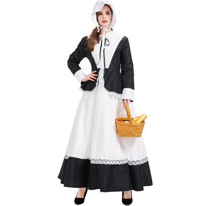 Halloween Farm Maid Black And White Dress Cosplay Costume Nihaostyles Wholesale Halloween Costumes NSPIS79051