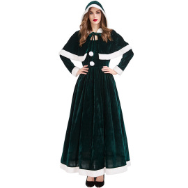 Women's Two-color Short Shawl Long Christmas Dress Nihaostyles Wholesale Christmas Costumes NSPIS79052