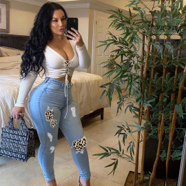 Women's Plus Size Ripped Leopard Stitching Slim Jeans Nihaostyles Clothing Wholesale NSWL79053
