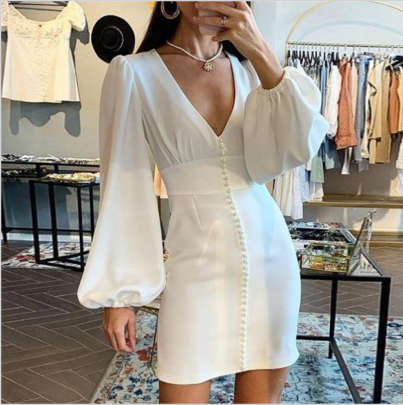 Women's Autumn And Winter V-neck Long-sleeved Middle Dress Nihaostyles Wholesale Clothing  NSYIS79332