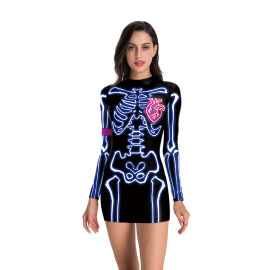 Women's Halloween Human Skeleton Printing Dress Nihaostyles Clothing Wholesale NSNDB78844