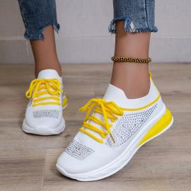 Flat Mesh Lace-up Rhinestone Shoes Nihaostyles Clothing Wholesale NSYUS79340