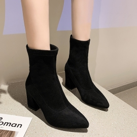 Women's Pointed Suede High-heeled Short Boots Nihaostyles Clothing Wholesale NSYUS79344