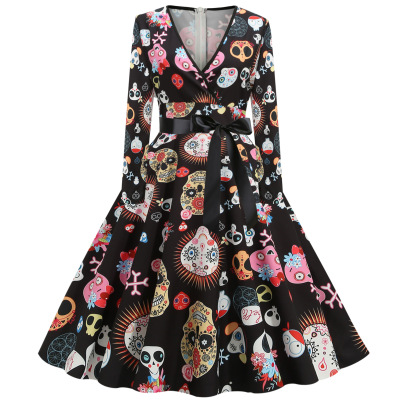 Women's V-neck Long-sleeved Printing Dress Nihaostyles Wholesale Halloween Costumes NSSAP79060