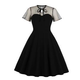 Women's Net Yarn Wave Dot Stitching Dress Nihaostyles Clothing Wholesale NSMXN79065