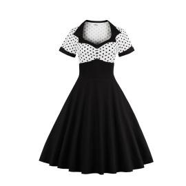 Women's Dot Square Neck Retro Dress Nihaostyles Clothing Wholesale NSMXN79066