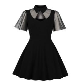 Women's Lapel Lace Stitching Dress Nihaostyles Clothing Wholesale NSMXN79067