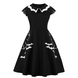Women's Halloween Bat Embroidery Plus Size Dress Nihaostyles Clothing Wholesale NSMXN79068