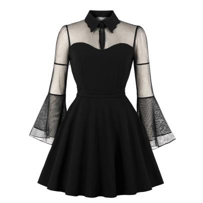 Women's Long-sleeved Stitching Plus Size Mesh Dress Nihaostyles Clothing Wholesale NSMXN79069