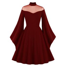 Women's Halloween Black Queen Net Yarn Trumpet Sleeve Stitching Retro Dress Nihaostyles Wholesale Halloween Costumes NSMXN79070