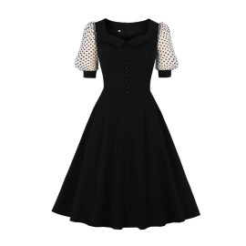 Women's Puff Sleeve Square Neck Dress Nihaostyles Clothing Wholesale NSMXN79072