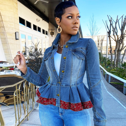 Women's Stitching Denim Cropped Jacket Nihaostyles Clothing Wholesale NSWL79127