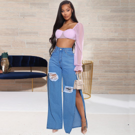 Women's Ripped Slit Jeans Nihaostyles Clothing Wholesale NSWL79139