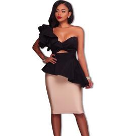 Women's Ruffled Wrapped Breast Dress Nihaostyles Wholesale Halloween Costumes NSXYZ79156