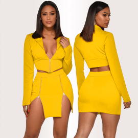 Women's V-neck Two-piece Suit Skirt Nihaostyles Wholesale Clothing NSXYZ79157