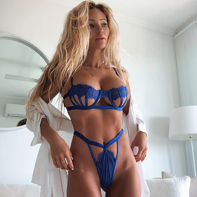 Women's Lace Embroidery Hollow Two-piece Lingerie Set Nihaostyles Clothing Wholesale NSRBL79167