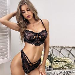 women's lace hollow two-piece lingerie set nihaostyles clothing wholesale NSRBL79177