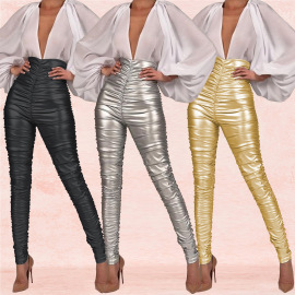 Women's Solid Color Pleated Tight Pencil Pants Nihaostyles Wholesale Clothing NSXYZ79204