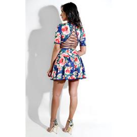 Women's Floral Print Strappy Dress Nihaostyles Wholesale Clothing NSXYZ79206