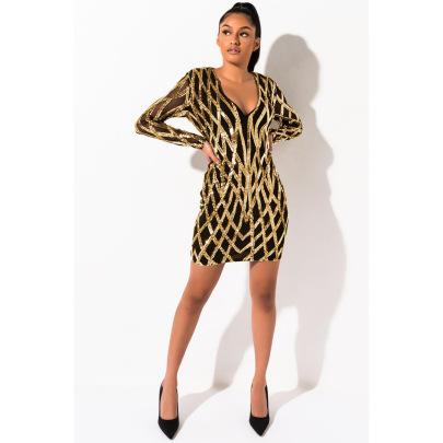 Women's V-neck Mesh Sequin Dress Nihaostyles Wholesale Clothing  NSXYZ79211