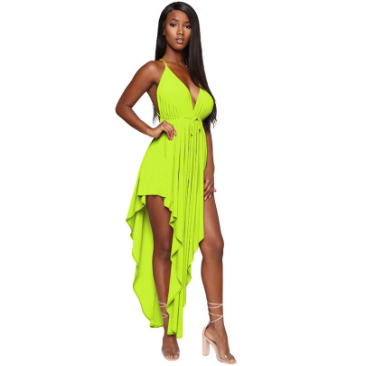 Women's Sexy Solid Color Halter Dress Nihaostyles Wholesale Clothing NSXYZ79212