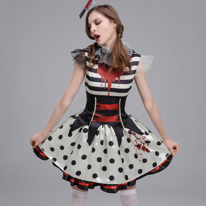 Horror Bloody Print Masquerade Costume Nihaostyles Wholesale Halloween Costumes NSQHM79240