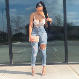 Women's Plus Size Ripped Jeans Nihaostyles Clothing Wholesale NSWL79260