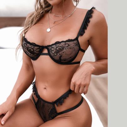 Women's Mesh Lace Edge Two-piece Underwear Set Nihaostyles Clothing Wholesale NSRBL79269