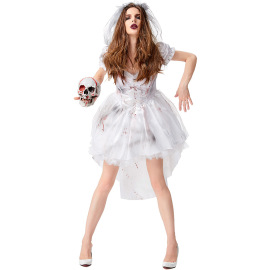 White Ghost Bride Horror Bloodstained Costume Nihaostyles Wholesale Halloween Costumes NSPIS79282