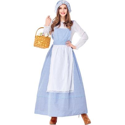 Farm Girl Sky Blue Plaid Kitchen Girl Skirt Pastoral Performance Costume Nihaostyles Wholesale Halloween Costumes NSPIS79284