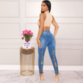 Women's Colorful Bandage Jeans Nihaostyles Clothing Wholesale NSWL79302