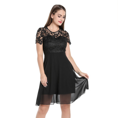 Women's Lace Round Neck Dress Nihaostyles Clothing Wholesale NSMXN79306