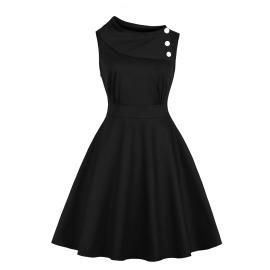 Women's Round Neck Solid Color Slim Sleeveless Dress Nihaostyles Clothing Wholesale NSMXN79307