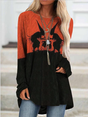 Halloween Women's Round Neck Long-sleeved Print Stitching Tops Autumn And Winter Nihaostyles Wholesale Halloween Costumes  NSYIS79339