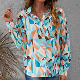 Autumn And Winter Women's Printed Diamond Blouse Nihaostyles Wholesale Clothing NSYID79334